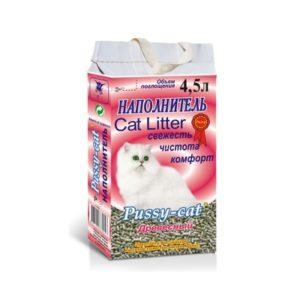 Наполнитель древесный PUSSY CAT (4,5 л)